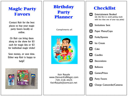 free printer birthday party planner