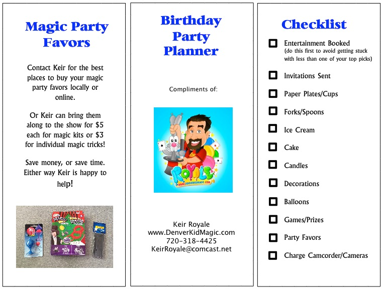 graphic about Party Planner Printable named Free of charge Printable Birthday Occasion Planner - Denver Magician for
