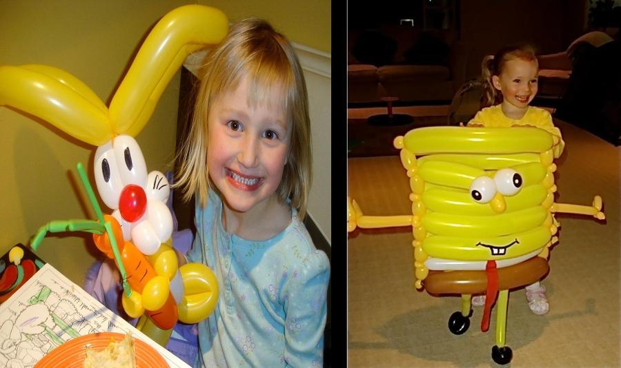happy kids with balloon animals and balloon art